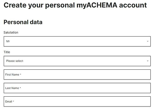 myACHEMA registration form