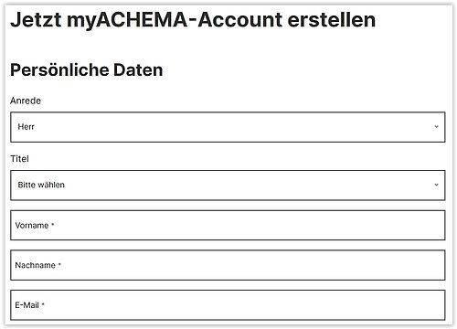 myACHEMA Registrierung