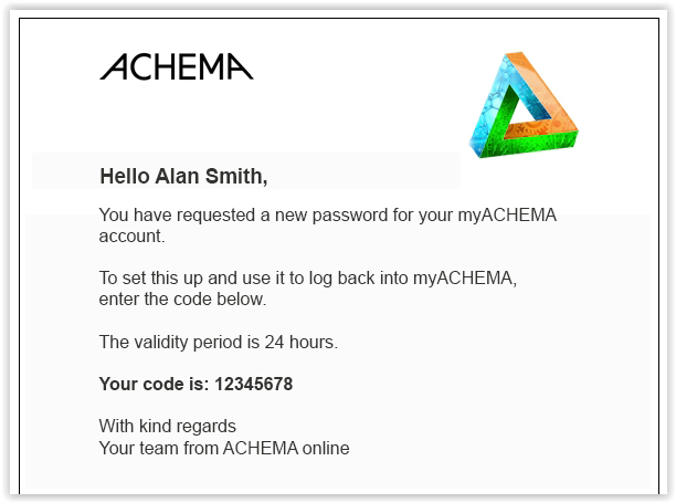 Email with verification code