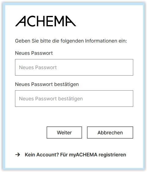 myACHEMA persönliches Passwort vergeben