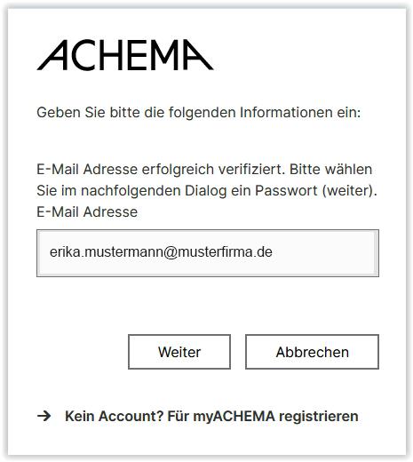 E-Mail-Adresse erfolgreich verifiziert