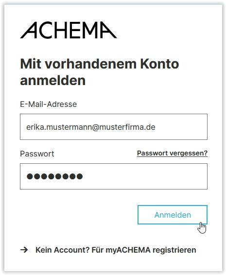 Am myACHEMA-Konto anmelden