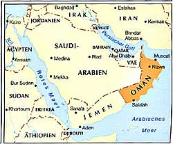 Oman's location on the Arabian Peninsula